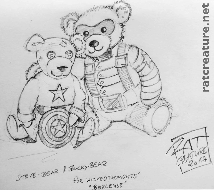 doodle for Berceuse, a new Bucky (Winter Soldier) Bear and a battered old teddy bear in a new Captain America costume